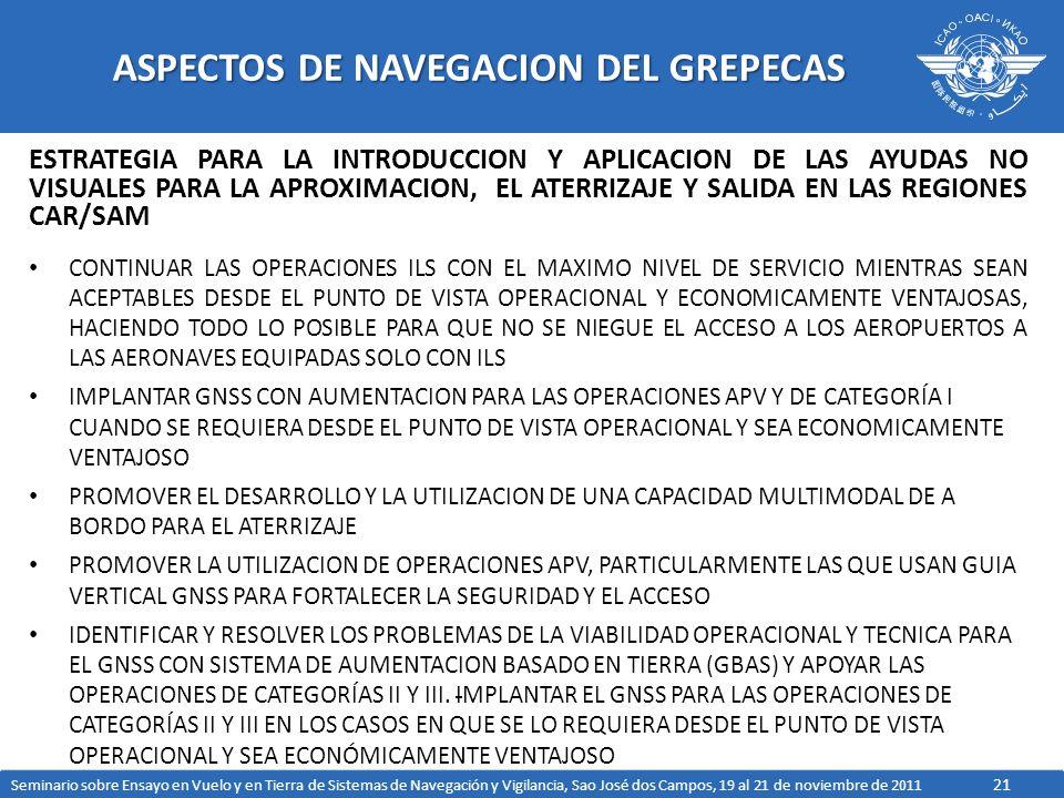 21 ASPECTOS DE NAVEGACION DEL GREPECAS ESTRATEGIA PARA LA INTRODUCCION Y APLICACION DE LAS AYUDAS NO VISUALES PARA LA APROXIMACION, EL ATERRIZAJE Y SALIDA EN LAS REGIONES CAR/SAM CONTINUAR LAS OPERACIONES ILS CON EL MAXIMO NIVEL DE SERVICIO MIENTRAS SEAN ACEPTABLES DESDE EL PUNTO DE VISTA OPERACIONAL Y ECONOMICAMENTE VENTAJOSAS, HACIENDO TODO LO POSIBLE PARA QUE NO SE NIEGUE EL ACCESO A LOS AEROPUERTOS A LAS AERONAVES EQUIPADAS SOLO CON ILS IMPLANTAR GNSS CON AUMENTACION PARA LAS OPERACIONES APV Y DE CATEGORÍA I CUANDO SE REQUIERA DESDE EL PUNTO DE VISTA OPERACIONAL Y SEA ECONOMICAMENTE VENTAJOSO PROMOVER EL DESARROLLO Y LA UTILIZACION DE UNA CAPACIDAD MULTIMODAL DE A BORDO PARA EL ATERRIZAJE PROMOVER LA UTILIZACION DE OPERACIONES APV, PARTICULARMENTE LAS QUE USAN GUIA VERTICAL GNSS PARA FORTALECER LA SEGURIDAD Y EL ACCESO IDENTIFICAR Y RESOLVER LOS PROBLEMAS DE LA VIABILIDAD OPERACIONAL Y TECNICA PARA EL GNSS CON SISTEMA DE AUMENTACION BASADO EN TIERRA (GBAS) Y APOYAR LAS OPERACIONES DE CATEGORÍAS II Y III.