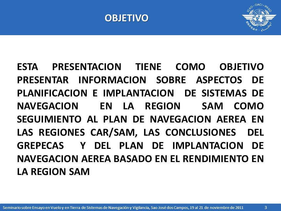 24 ASPECTOS DE NAVEGACION DEL GREPECAS LARGO PLAZO (2016-2025) CONTINUACION DE LA DESACTIVACION DE LAS AYUDAS CONVENCIONALES, MANTENIENDO, SI FUESE NECESARIO, LA ESTRUCTURA DE BACKUP IMPLEMENTACION DE GBAS CAT II/III EN AEROPUERTOS SELECCIONADOS IMPLEMENTACION DE APROXIMACIONES BASADAS EN GBAS CAT I PARA OTROS AEROPUERTOS EN LA REGIONES CAR/SAM, QUE TENGAN UNA DEMANDA OPERACIONAL QUE LO JUSTIFIQUE POSIBLE IMPLEMENTACION DEL SBAS, DEPENDIENDO CON LOS ANALISIS DE VIABILIDAD REALIZADOS Y EN CURSO POR PARTE DE PROYECTOS DE OACI, TOMANDO EN CUENTA LOS SISTEMAS MONOFRECUENCIAS ACTUALES Y LA EVOLUCION DE LOS ALGORITMOS IONOSFERICAS, ASI COMO LA FUTURA DISPONIBILIDAD DE ESTRUCTURA SATELITAL MULTI-FRECUENCIA Y MULTI- CONSTELACION EVOLUCION DE LA INFRAESTRUCTURA DE NAVEGACION AEREA Seminario sobre Ensayo en Vuelo y en Tierra de Sistemas de Navegación y Vigilancia, Sao José dos Campos, 19 al 21 de noviembre de 2011