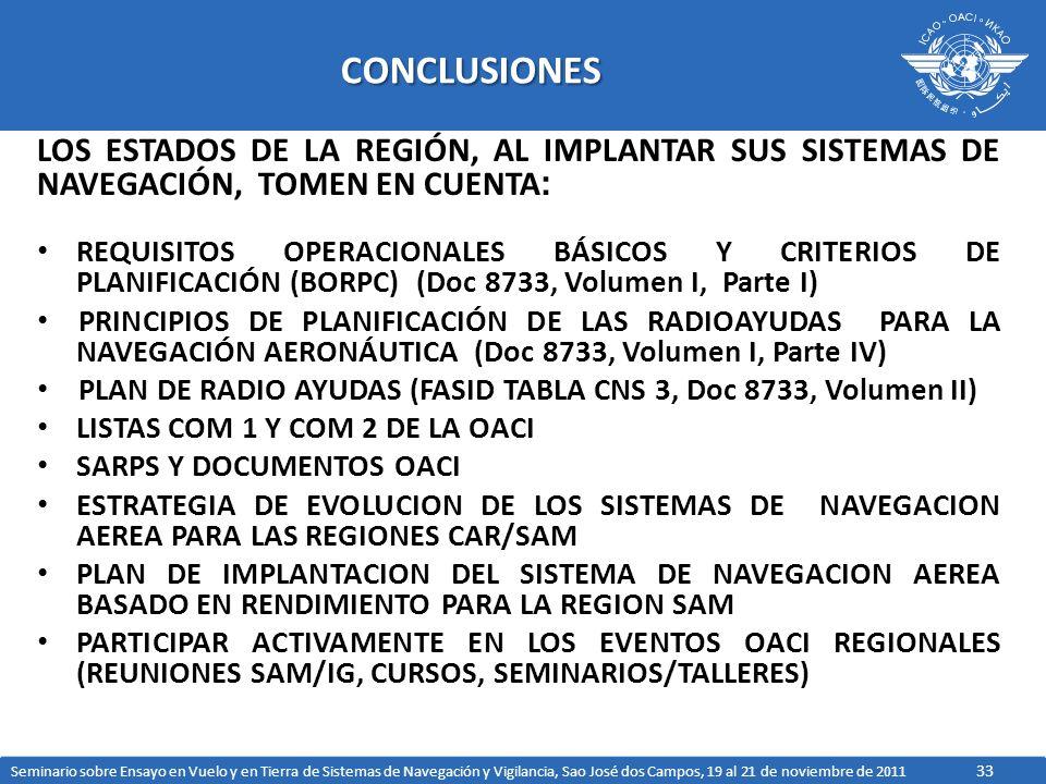 33CONCLUSIONES LOS ESTADOS DE LA REGIÓN, AL IMPLANTAR SUS SISTEMAS DE NAVEGACIÓN, TOMEN EN CUENTA : REQUISITOS OPERACIONALES BÁSICOS Y CRITERIOS DE PLANIFICACIÓN (BORPC) (Doc 8733, Volumen I, Parte I) PRINCIPIOS DE PLANIFICACIÓN DE LAS RADIOAYUDAS PARA LA NAVEGACIÓN AERONÁUTICA (Doc 8733, Volumen I, Parte IV) PLAN DE RADIO AYUDAS (FASID TABLA CNS 3, Doc 8733, Volumen II) LISTAS COM 1 Y COM 2 DE LA OACI SARPS Y DOCUMENTOS OACI ESTRATEGIA DE EVOLUCION DE LOS SISTEMAS DE NAVEGACION AEREA PARA LAS REGIONES CAR/SAM PLAN DE IMPLANTACION DEL SISTEMA DE NAVEGACION AEREA BASADO EN RENDIMIENTO PARA LA REGION SAM PARTICIPAR ACTIVAMENTE EN LOS EVENTOS OACI REGIONALES (REUNIONES SAM/IG, CURSOS, SEMINARIOS/TALLERES) Seminario sobre Ensayo en Vuelo y en Tierra de Sistemas de Navegación y Vigilancia, Sao José dos Campos, 19 al 21 de noviembre de 2011