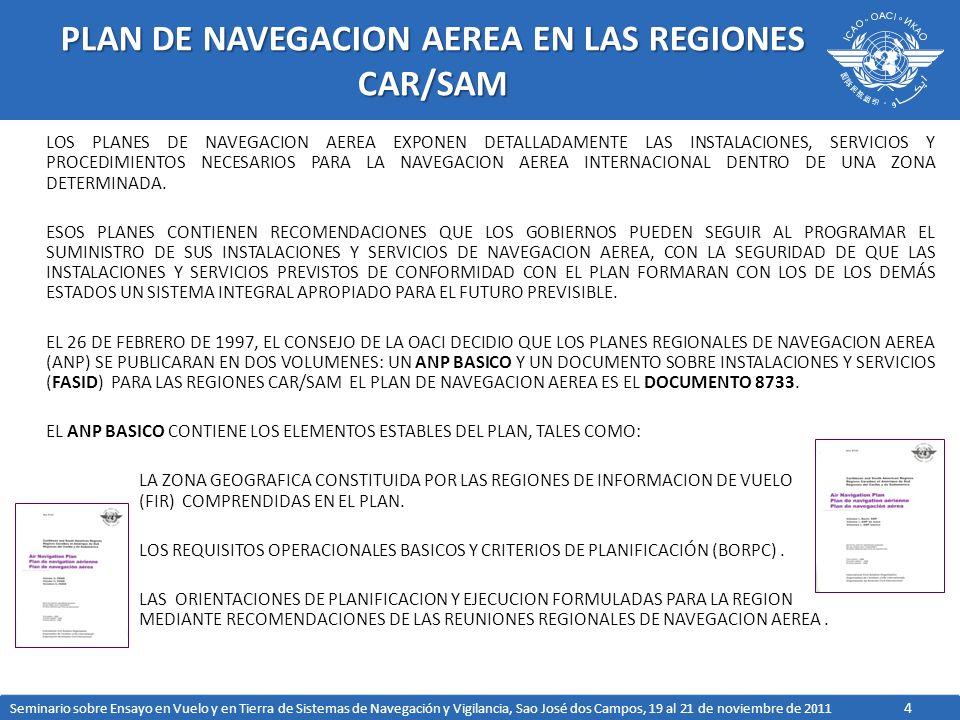 15 ENMIENDAS SARPS SOBRE NAVEGACION ENMIENDA 87 (APLICABLE NOVIEMBRE 2012) CAMBIOS EN LOS REQUERIMIENTOS DE POTENCIA DE RECEPCION DE SEÑAL INTRODUCCION DE DOS NUEVOS PROVEEDORES SBAS CAMBIOS EN LA CODIFICACION EN EL NUMERO DE CAMPO DE PISTA EN EL SEGMENTO DE APROXIMACION FINAL (FAS) DEL BLOQUE DE DATOS CAMBIOS EN LOS REQUERIMIENTOS DE POTENCIA DEL GNSS TRABAJOS EN PROGRESOS DEL NSP DESARROLLO DE SARPS DE NUEVAS CONSTELACIONES /SEÑALES DESARROLLO DE DOCUMENTOS PARA LA AN 12 (ROADMAP DE NAVEGACION) OPERACION MULTICONSTELACION NUEVA EDICION DEL 9849 MANTENIMIENTO DE LOS SARPS EXISTENTES DE LAS RADIO AYUDAS CONVENCIONALES MANTENIMIENTO DEL DOCUMENTO 8071 Seminario sobre Ensayo en Vuelo y en Tierra de Sistemas de Navegación y Vigilancia, Sao José dos Campos, 19 al 21 de noviembre de 2011