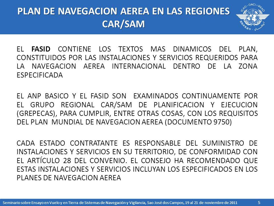 5 PLAN DE NAVEGACION AEREA EN LAS REGIONES CAR/SAM EL FASID CONTIENE LOS TEXTOS MAS DINAMICOS DEL PLAN, CONSTITUIDOS POR LAS INSTALACIONES Y SERVICIOS REQUERIDOS PARA LA NAVEGACION AEREA INTERNACIONAL DENTRO DE LA ZONA ESPECIFICADA EL ANP BASICO Y EL FASID SON EXAMINADOS CONTINUAMENTE POR EL GRUPO REGIONAL CAR/SAM DE PLANIFICACION Y EJECUCION (GREPECAS), PARA CUMPLIR, ENTRE OTRAS COSAS, CON LOS REQUISITOS DEL PLAN MUNDIAL DE NAVEGACION AEREA (DOCUMENTO 9750) CADA ESTADO CONTRATANTE ES RESPONSABLE DEL SUMINISTRO DE INSTALACIONES Y SERVICIOS EN SU TERRITORIO, DE CONFORMIDAD CON EL ARTÍCULO 28 DEL CONVENIO.