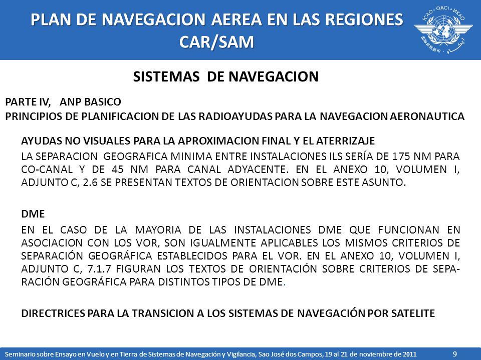 9 PLAN DE NAVEGACION AEREA EN LAS REGIONES CAR/SAM AYUDAS NO VISUALES PARA LA APROXIMACION FINAL Y EL ATERRIZAJE LA SEPARACION GEOGRAFICA MINIMA ENTRE INSTALACIONES ILS SERÍA DE 175 NM PARA CO CANAL Y DE 45 NM PARA CANAL ADYACENTE.