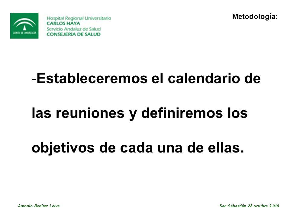 -Estableceremos el calendario de las reuniones y definiremos los objetivos de cada una de ellas.
