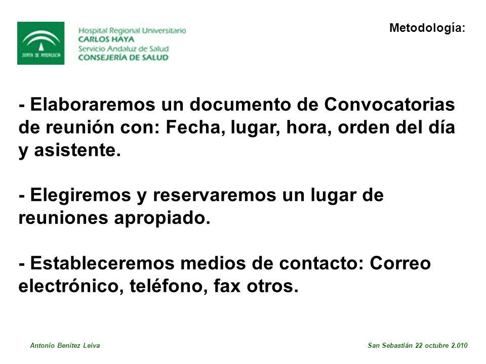 - Elaboraremos un documento de Convocatorias de reunión con: Fecha, lugar, hora, orden del día y asistente.