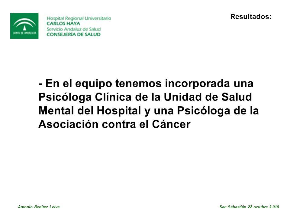 Resultados: - En el equipo tenemos incorporada una Psicóloga Clínica de la Unidad de Salud Mental del Hospital y una Psicóloga de la Asociación contra el Cáncer Antonio Benítez Leiva San Sebastián 22 octubre 2.010