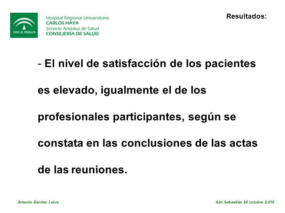 - El nivel de satisfacción de los pacientes es elevado, igualmente el de los profesionales participantes, según se constata en las conclusiones de las actas de las reuniones.