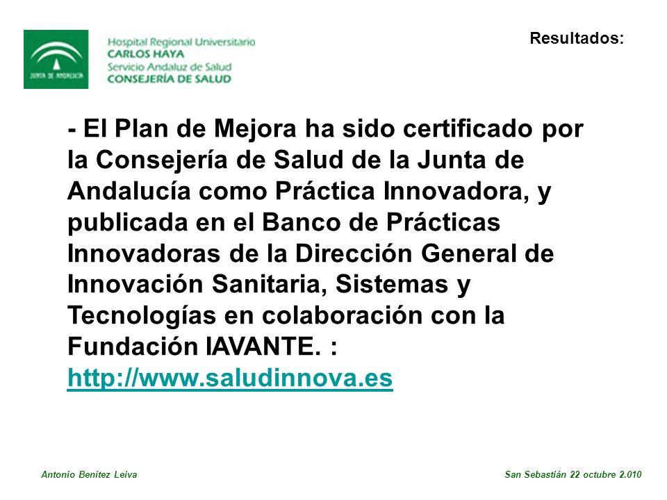- El Plan de Mejora ha sido certificado por la Consejería de Salud de la Junta de Andalucía como Práctica Innovadora, y publicada en el Banco de Prácticas Innovadoras de la Dirección General de Innovación Sanitaria, Sistemas y Tecnologías en colaboración con la Fundación IAVANTE.