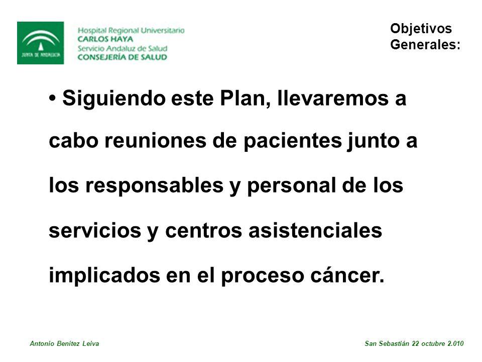 Siguiendo este Plan, llevaremos a cabo reuniones de pacientes junto a los responsables y personal de los servicios y centros asistenciales implicados en el proceso cáncer.