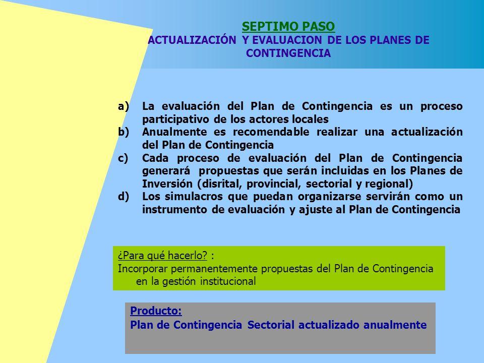 SEPTIMO PASO ACTUALIZACIÓN Y EVALUACION DE LOS PLANES DE CONTINGENCIA ¿Para qué hacerlo? : Incorporar permanentemente propuestas del Plan de Contingen