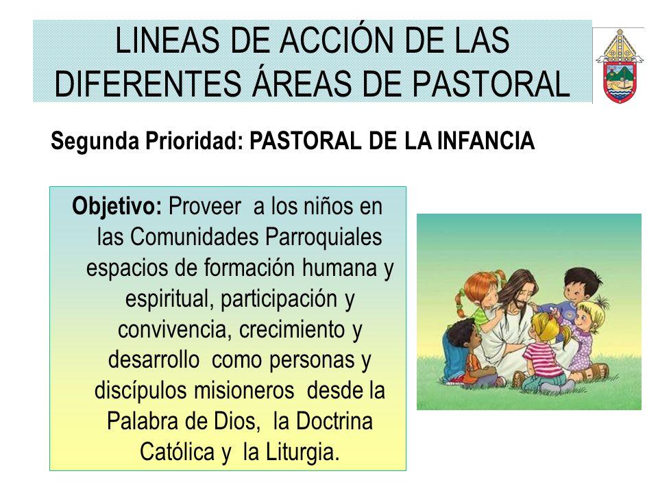 LINEAS DE ACCIÓN DE LAS DIFERENTES ÁREAS DE PASTORAL Segunda Prioridad: PASTORAL DE LA INFANCIA Objetivo: Proveer a los niños en las Comunidades Parro