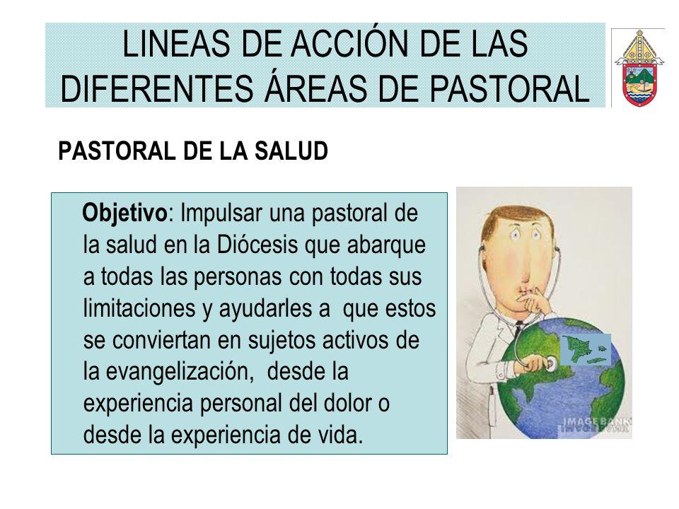 PASTORAL DE LA SALUD Objetivo : Impulsar una pastoral de la salud en la Diócesis que abarque a todas las personas con todas sus limitaciones y ayudarl