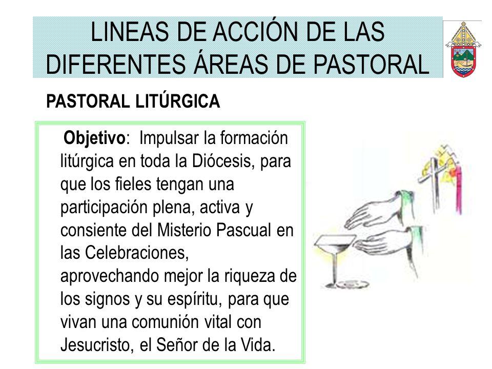 PASTORAL LITÚRGICA Objetivo : Impulsar la formación litúrgica en toda la Diócesis, para que los fieles tengan una participación plena, activa y consie