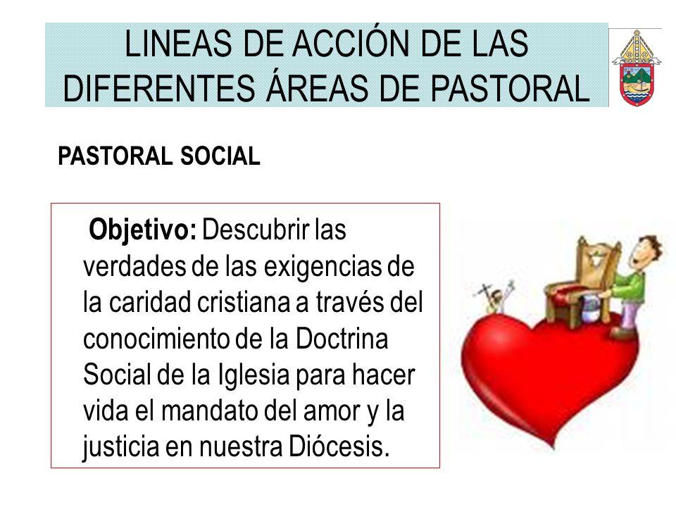 PASTORAL SOCIAL Objetivo: Descubrir las verdades de las exigencias de la caridad cristiana a través del conocimiento de la Doctrina Social de la Igles