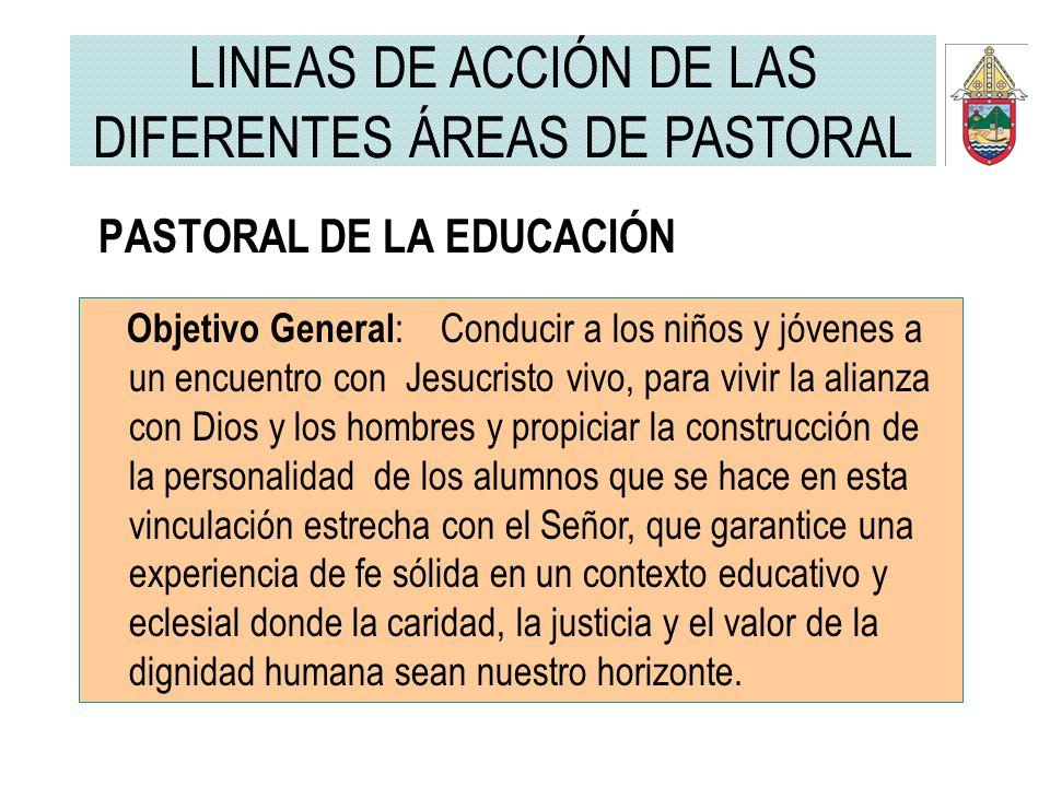 PASTORAL DE LA EDUCACIÓN Objetivo General : Conducir a los niños y jóvenes a un encuentro con Jesucristo vivo, para vivir la alianza con Dios y los ho