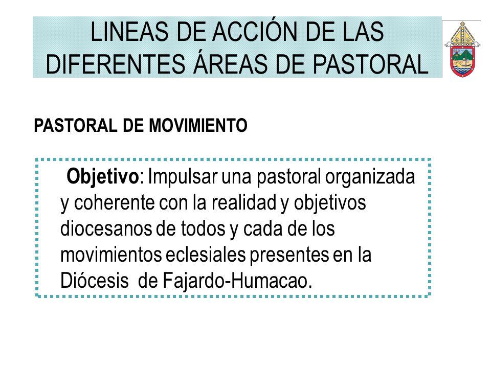 PASTORAL DE MOVIMIENTO Objetivo : Impulsar una pastoral organizada y coherente con la realidad y objetivos diocesanos de todos y cada de los movimient