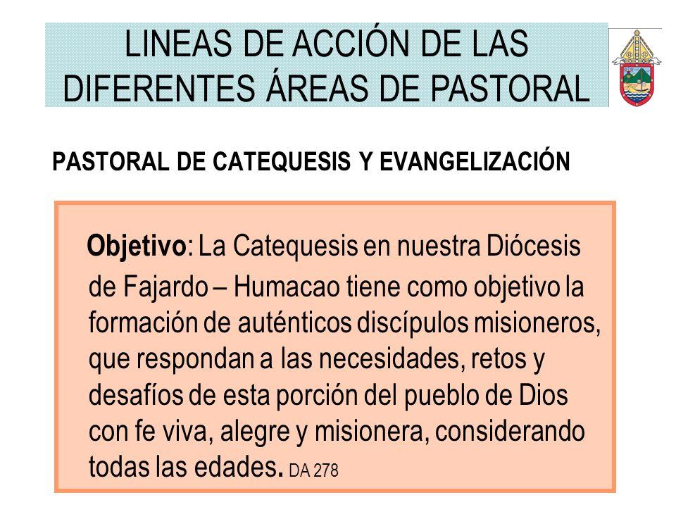 PASTORAL DE CATEQUESIS Y EVANGELIZACIÓN Objetivo : La Catequesis en nuestra Diócesis de Fajardo – Humacao tiene como objetivo la formación de auténtic