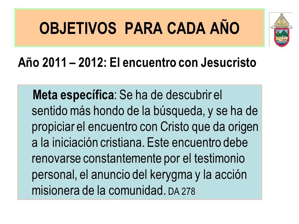OBJETIVOS PARA CADA AÑO Año 2011 – 2012: El encuentro con Jesucristo Meta específica : Se ha de descubrir el sentido más hondo de la búsqueda, y se ha