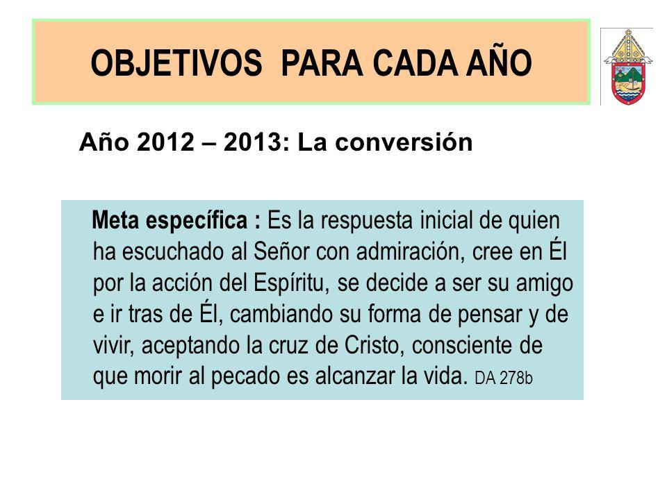 Año 2012 – 2013: La conversión Meta específica : Es la respuesta inicial de quien ha escuchado al Señor con admiración, cree en Él por la acción del E
