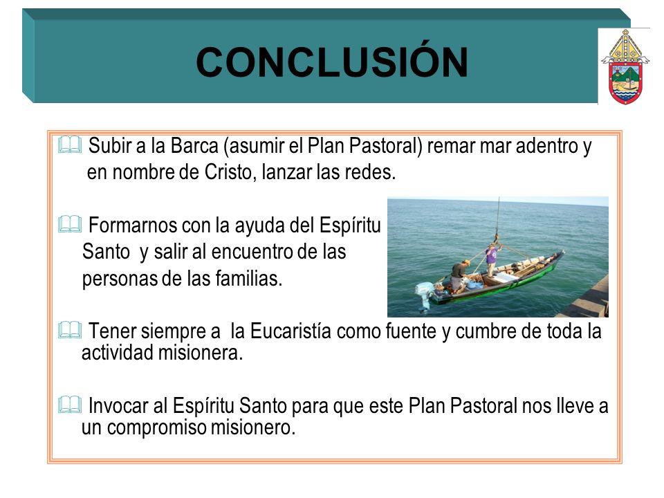 Subir a la Barca (asumir el Plan Pastoral) remar mar adentro y en nombre de Cristo, lanzar las redes. Formarnos con la ayuda del Espíritu Santo y sali