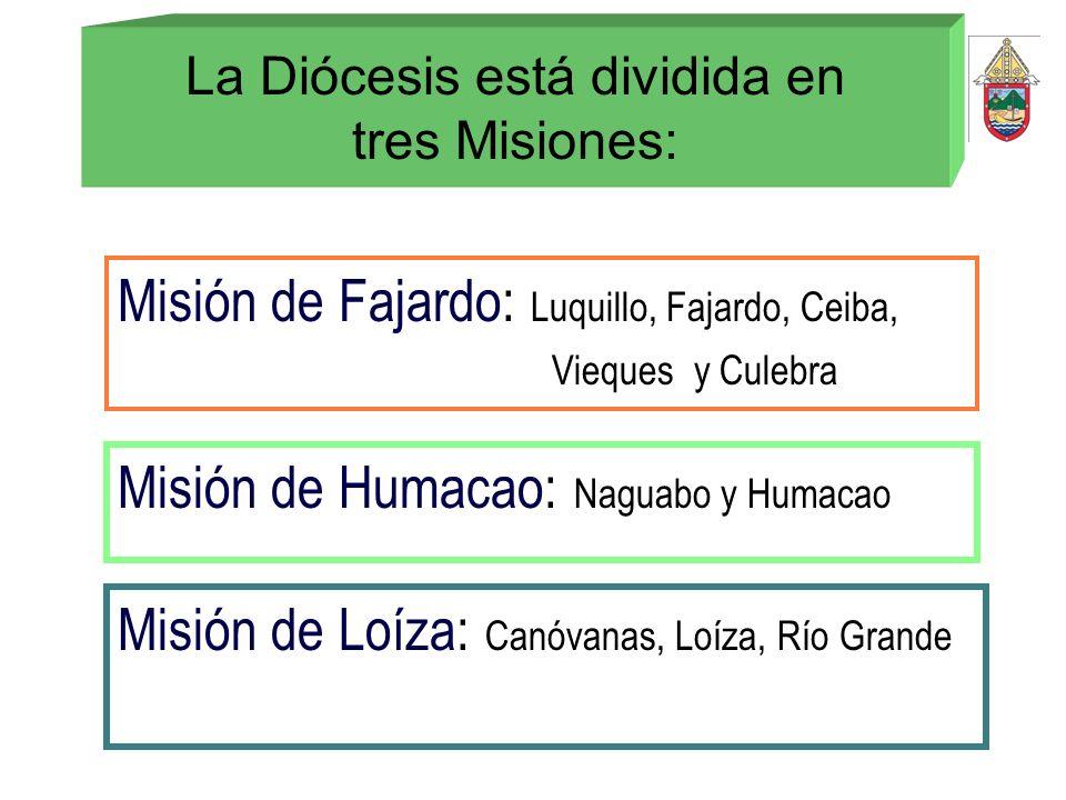 La Diócesis está dividida en tres Misiones: Misión de Fajardo: Luquillo, Fajardo, Ceiba, Vieques y Culebra Misión de Humacao: Naguabo y Humacao Misión