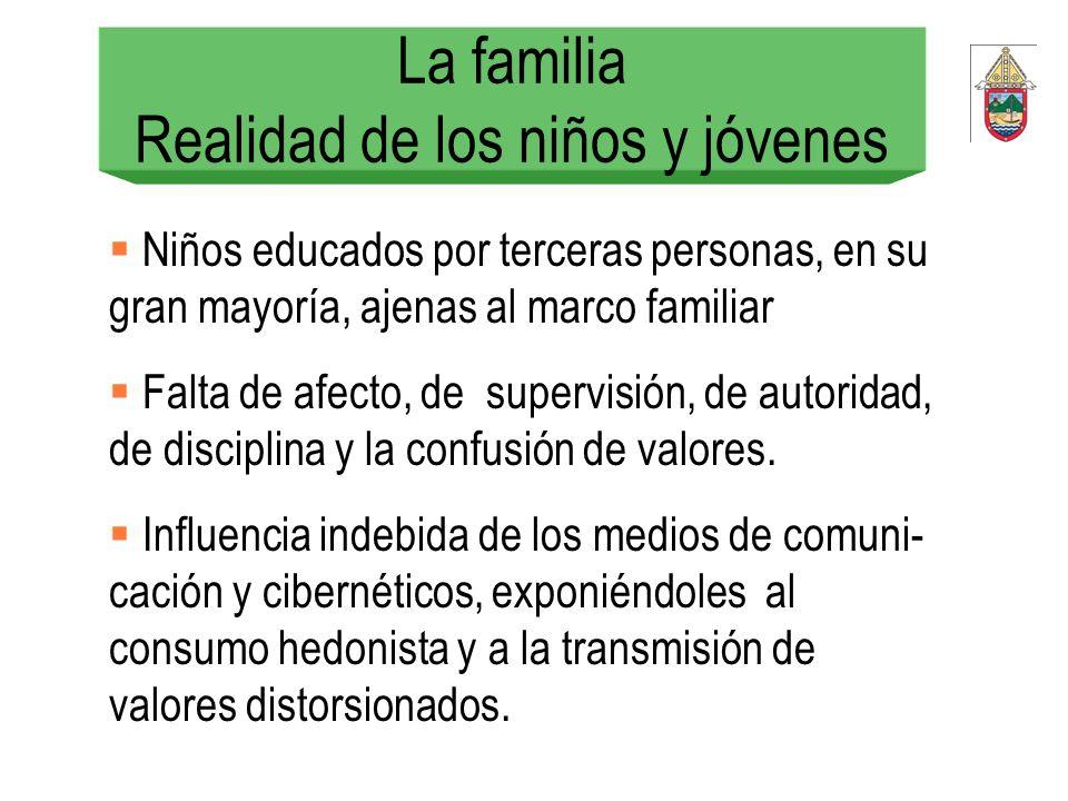 La familia Realidad de los niños y jóvenes Niños educados por terceras personas, en su gran mayoría, ajenas al marco familiar Falta de afecto, de supe