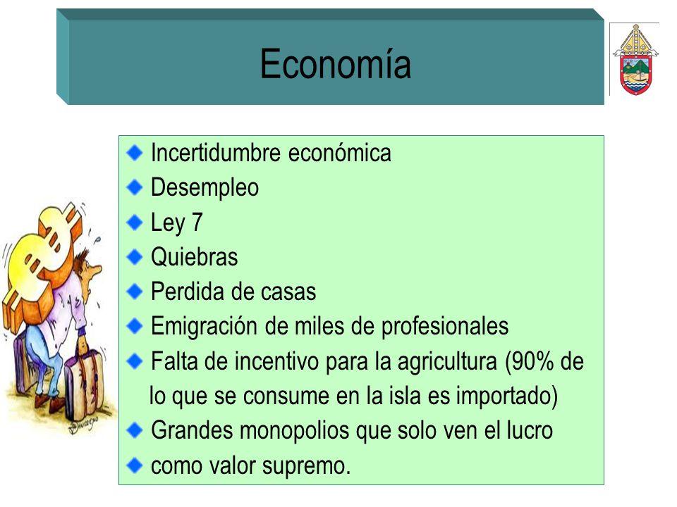 Economía Incertidumbre económica Desempleo Ley 7 Quiebras Perdida de casas Emigración de miles de profesionales Falta de incentivo para la agricultura