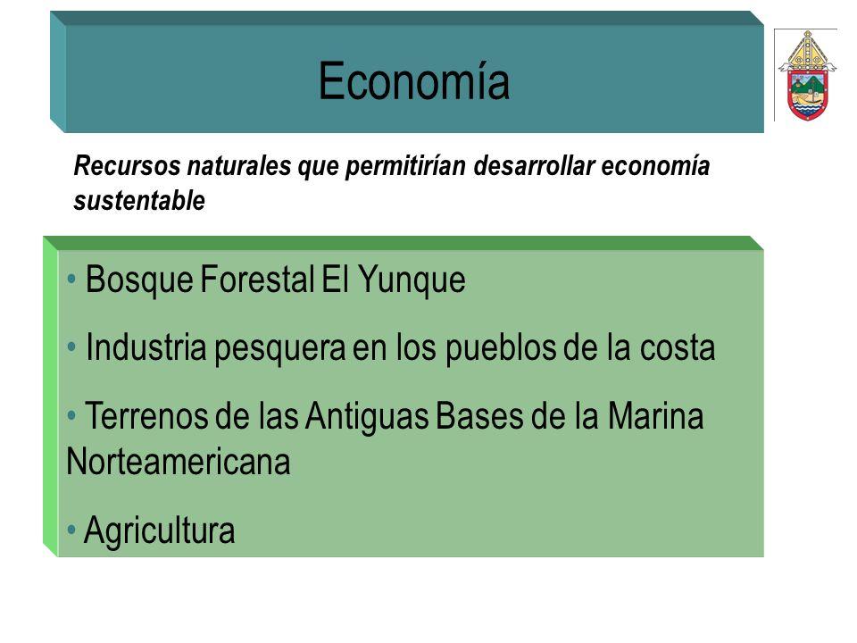 Economía Recursos naturales que permitirían desarrollar economía sustentable Bosque Forestal El Yunque Industria pesquera en los pueblos de la costa T