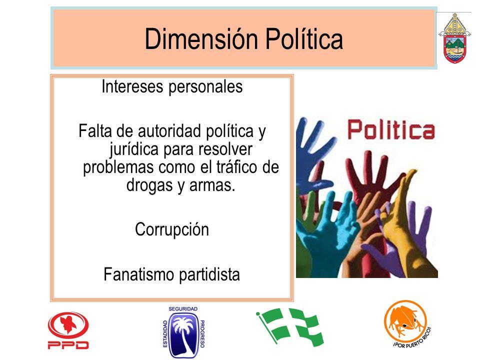 Dimensión Política Intereses personales Falta de autoridad política y jurídica para resolver problemas como el tráfico de drogas y armas. Corrupción F