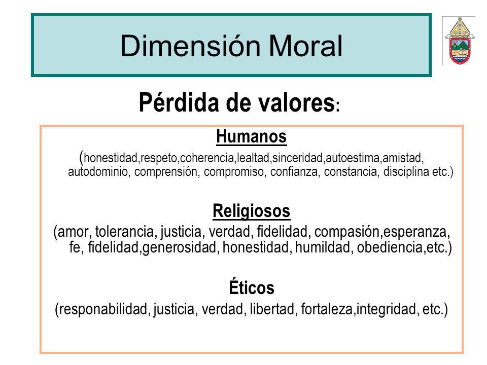 Dimensión Moral Humanos ( honestidad,respeto,coherencia,lealtad,sinceridad,autoestima,amistad, autodominio, comprensión, compromiso, confianza, consta