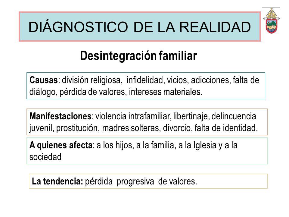 DIÁGNOSTICO DE LA REALIDAD Desintegración familiar Causas : división religiosa, infidelidad, vicios, adicciones, falta de diálogo, pérdida de valores,