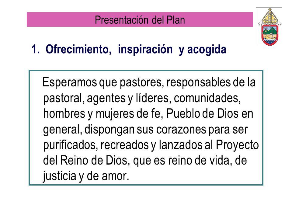 1. Ofrecimiento, inspiración y acogida Esperamos que pastores, responsables de la pastoral, agentes y líderes, comunidades, hombres y mujeres de fe, P