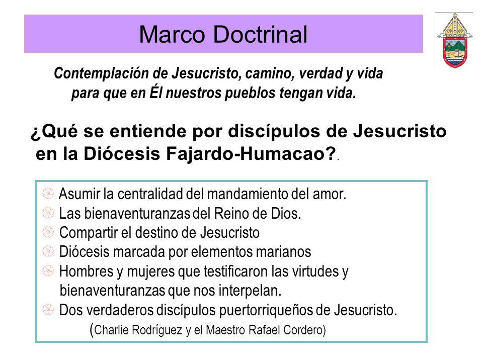 Marco Doctrinal ¿Qué se entiende por discípulos de Jesucristo en la Diócesis Fajardo-Humacao?. Contemplación de Jesucristo, camino, verdad y vida para