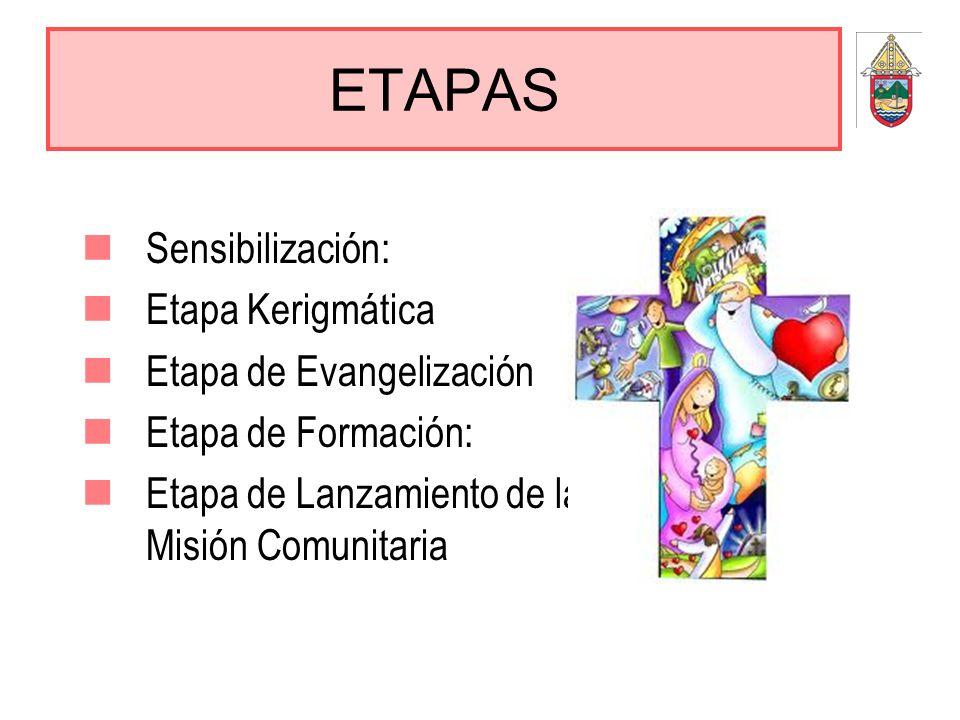 ETAPAS Sensibilización: Etapa Kerigmática Etapa de Evangelización Etapa de Formación: Etapa de Lanzamiento de la Misión Comunitaria