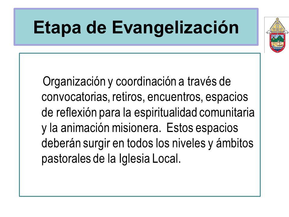 Etapa de Evangelización Organización y coordinación a través de convocatorias, retiros, encuentros, espacios de reflexión para la espiritualidad comun