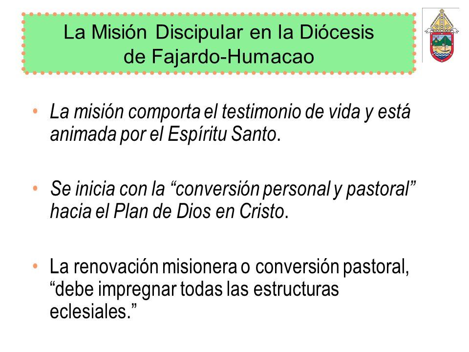 La Misión Discipular en la Diócesis de Fajardo-Humacao La misión comporta el testimonio de vida y está animada por el Espíritu Santo. Se inicia con la