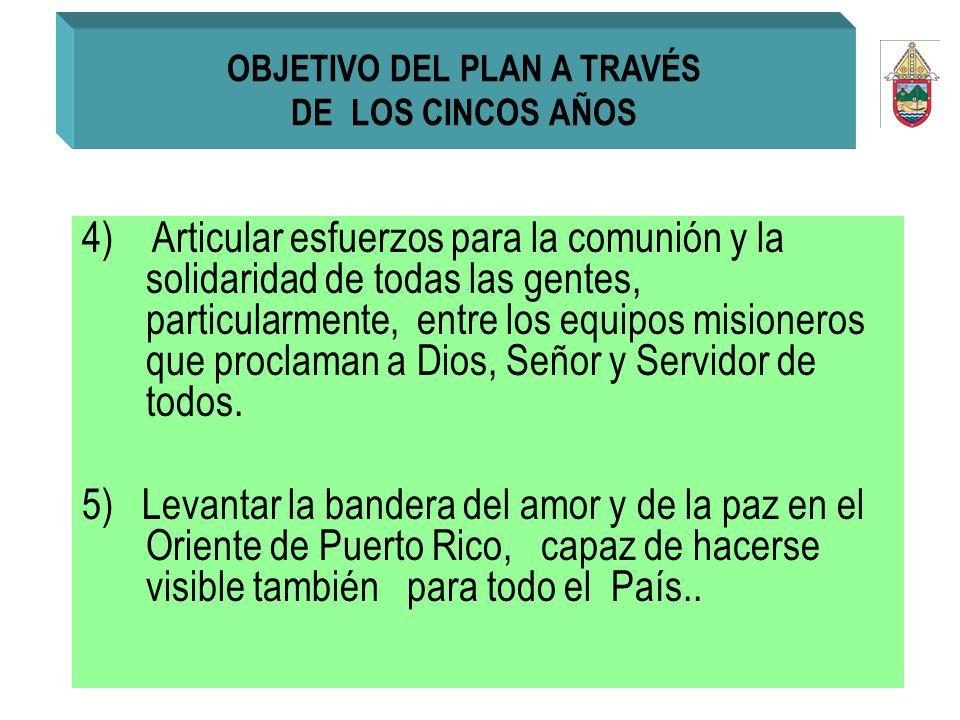 4) Articular esfuerzos para la comunión y la solidaridad de todas las gentes, particularmente, entre los equipos misioneros que proclaman a Dios, Seño