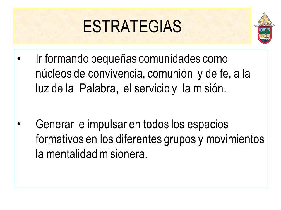 ESTRATEGIAS Ir formando pequeñas comunidades como núcleos de convivencia, comunión y de fe, a la luz de la Palabra, el servicio y la misión. Generar e