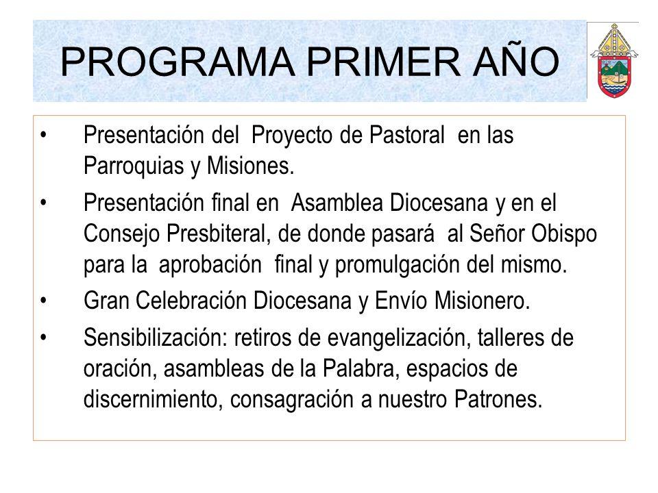PROGRAMA PRIMER AÑO Presentación del Proyecto de Pastoral en las Parroquias y Misiones. Presentación final en Asamblea Diocesana y en el Consejo Presb