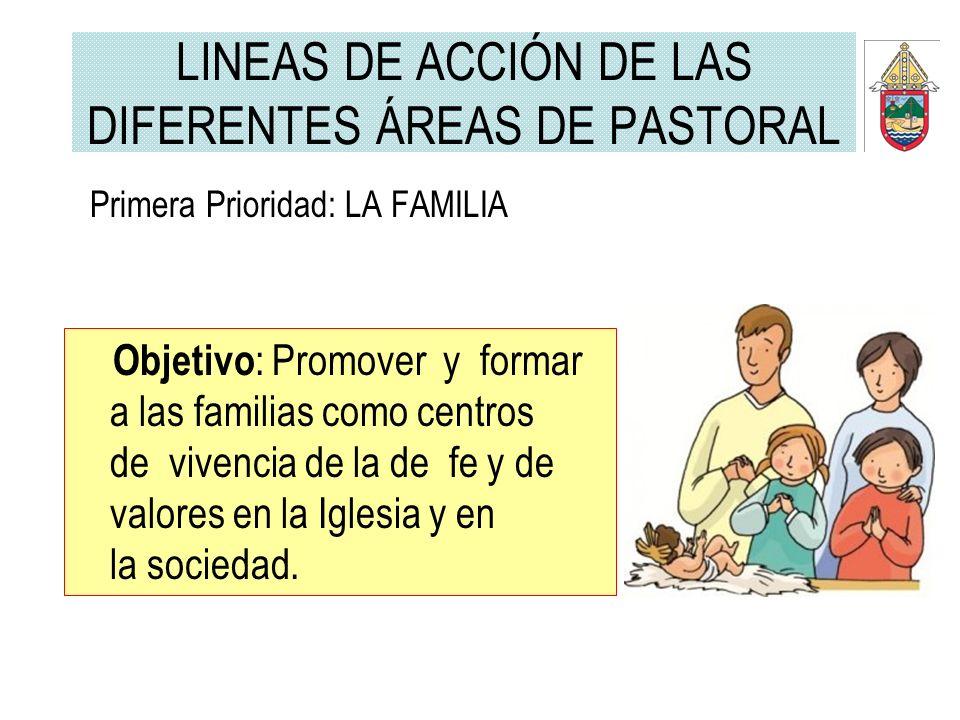 LINEAS DE ACCIÓN DE LAS DIFERENTES ÁREAS DE PASTORAL Primera Prioridad: LA FAMILIA Objetivo : Promover y formar a las familias como centros de vivenci