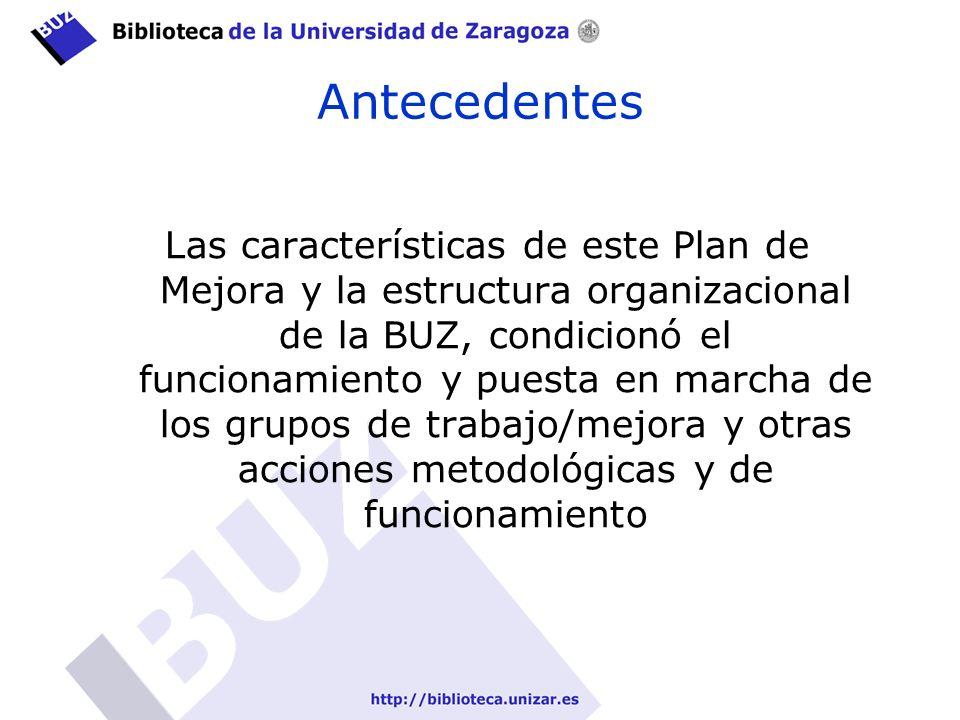 Antecedentes Las características de este Plan de Mejora y la estructura organizacional de la BUZ, condicionó el funcionamiento y puesta en marcha de los grupos de trabajo/mejora y otras acciones metodológicas y de funcionamiento