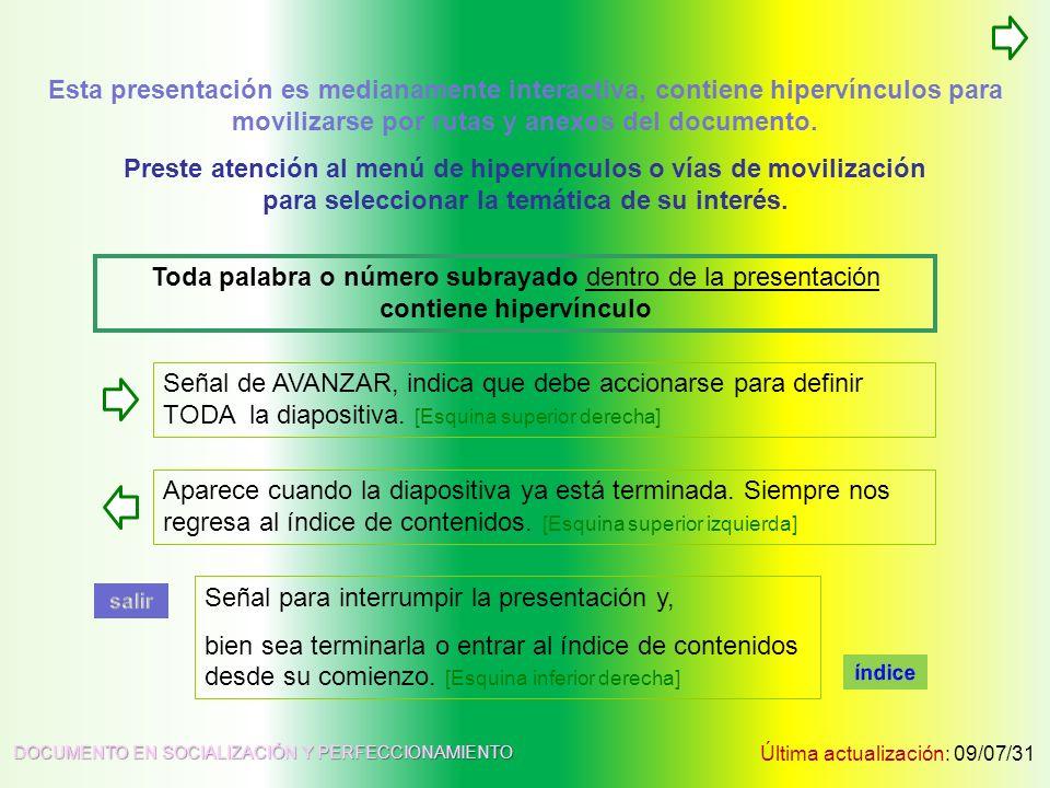 TABLA DE CONTENIDOS Última actualización: 09/07/31 DOCUMENTO EN SOCIALIZACIÓN Y PERFECCIONAMIENTO Esta presentación es medianamente interactiva, conti