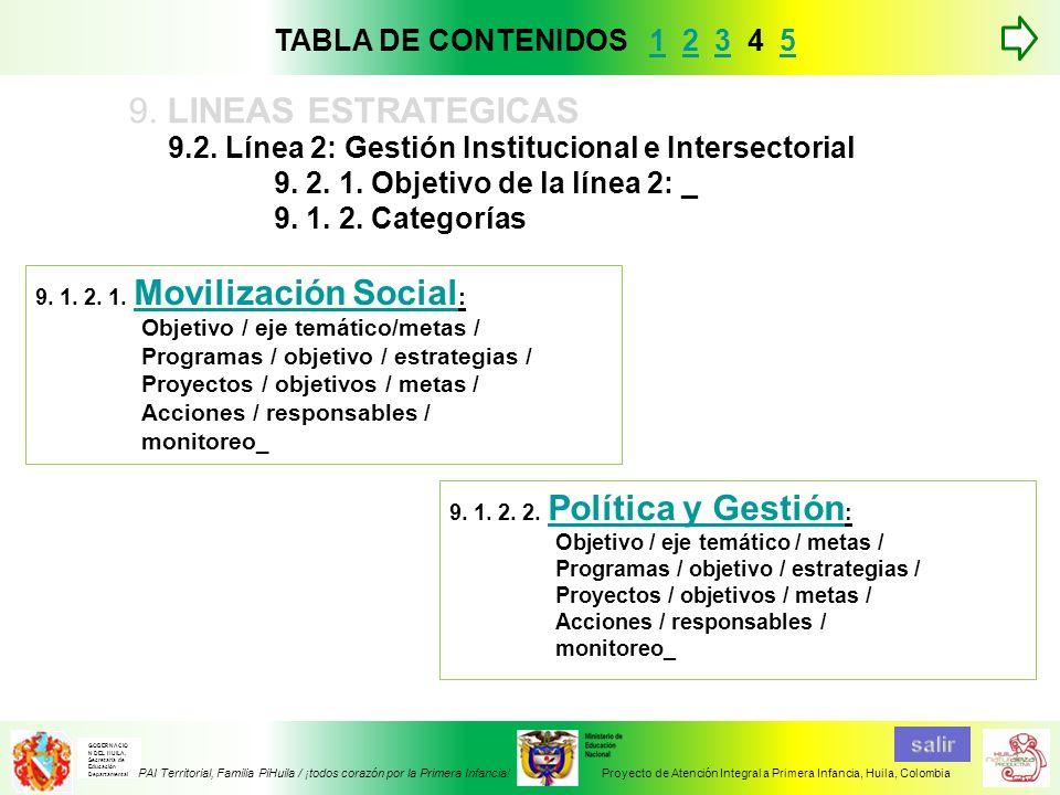 9.2. Línea 2: Gestión Institucional e Intersectorial 9. 2. 1. Objetivo de la línea 2: _ 9. 1. 2. Categorías 9. LINEAS ESTRATEGICAS 9. 1. 2. 1. Moviliz