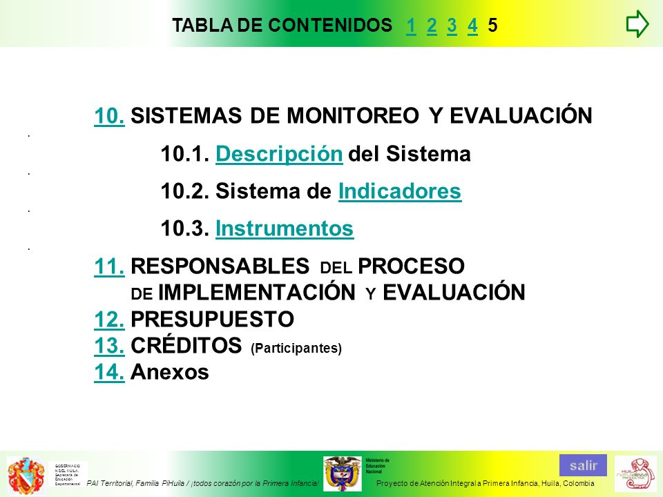 10.10. SISTEMAS DE MONITOREO Y EVALUACIÓN. 10.1. Descripción del Sistema. 10.2. Sistema de Indicadores. 10.3. Instrumentos. 11. RESPONSABLES DEL PROCE