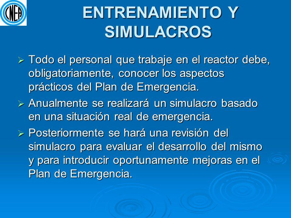 ENTRENAMIENTO Y SIMULACROS ENTRENAMIENTO Y SIMULACROS Todo el personal que trabaje en el reactor debe, obligatoriamente, conocer los aspectos práctico