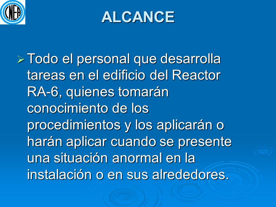 ALCANCE Todo el personal que desarrolla tareas en el edificio del Reactor RA-6, quienes tomarán conocimiento de los procedimientos y los aplicarán o h