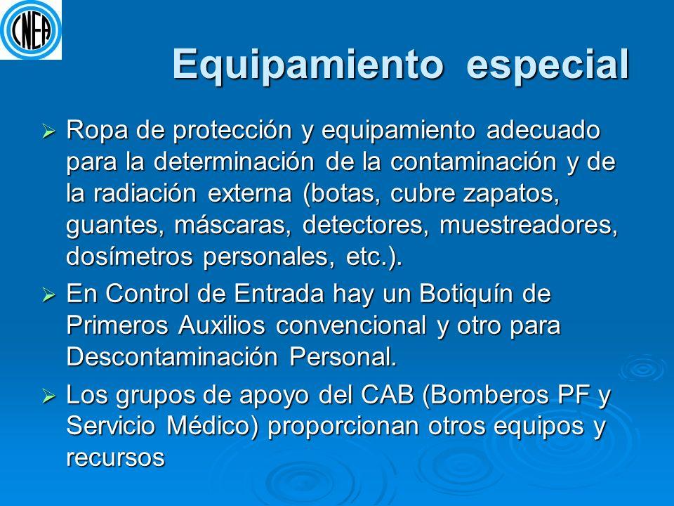 Equipamiento especial Equipamiento especial Ropa de protección y equipamiento adecuado para la determinación de la contaminación y de la radiación ext