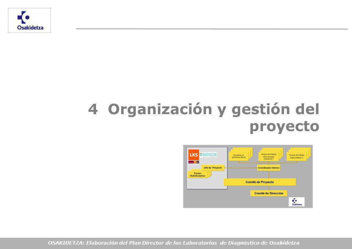 OSAKIDETZA: Elaboración del Plan Director de los Laboratorios de Diagnóstico de Osakidetza 4 Organización y gestión del proyecto