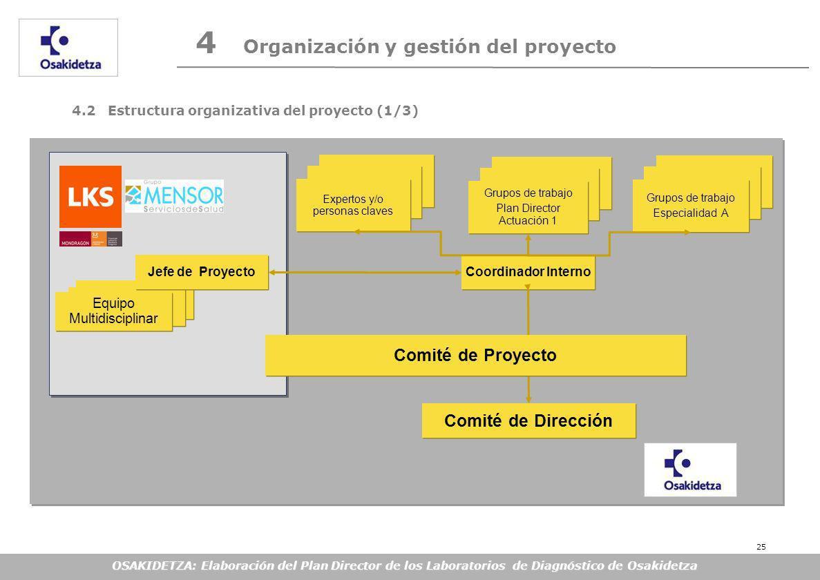 OSAKIDETZA: Elaboración del Plan Director de los Laboratorios de Diagnóstico de Osakidetza Grupos de Proceso Coordinador Interno Grupos de Proceso Expertos y/o personas claves Comité de Dirección Grupos de Proc Grupos de Proce Grupos de trabajo Plan Director Actuación 1 Grupos de trabajo Plan Director Actuación 1 Equipo Multidisciplinar Jefe de Proyecto 4.2 Estructura organizativa del proyecto (1/3) 4 Organización y gestión del proyecto Grupos de Proceso Grupos de trabajo Especialidad A Grupos de trabajo Especialidad A Comité de Proyecto 25