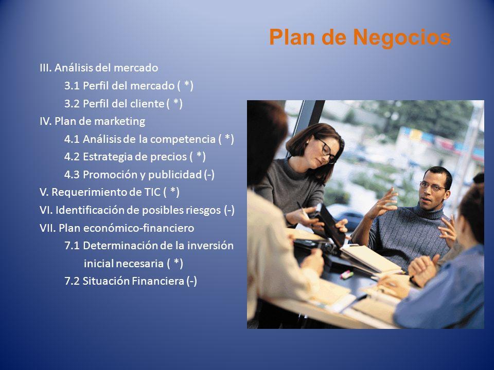 Plan de Negocios III. Análisis del mercado 3.1 Perfil del mercado ( *) 3.2 Perfil del cliente ( *) IV. Plan de marketing 4.1 Análisis de la competenci