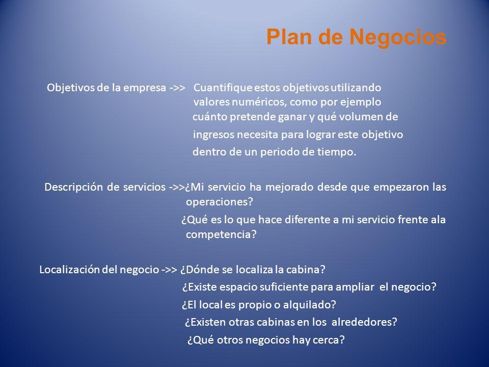 Plan de Negocios Objetivos de la empresa ->>Cuantifique estos objetivos utilizando valores numéricos, como por ejemplo cuánto pretende ganar y qué vol